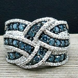 Blue and White Sapphire Criss Cross Ring